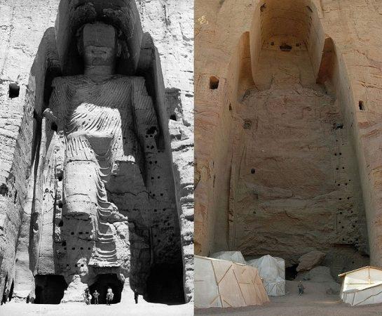 Uno dei simboli della fine della Hippie Trail i Buddha di Bamiyan rappresentavano la minoranza buddhista in Afghanistan ma nel 2001 i talebani li hanno completamente distrutti. La prima foto del 1963, la seconda del 2008